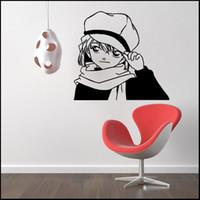 art case for kids - Anime Cartoon The Detective Cocan Kudou Shinichi Skating Haibara Ai Case Closed PVC Hollow Out Environmental Wall Sticker Decal Home Decor