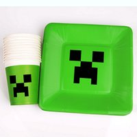 Wholesale Minecraft Paper Cups Toys Cartoon Figures Minecraft Creeper Drinking Cup Tableware Disposable Mug Dish Birthday Party supply Paper Plates