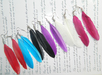 Wholesale High Quality Real Feather Earrings Simple Style For Wedding Perform Ornament Jewelry