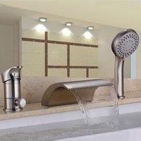 brushed nickel - Nickel Brushed Three Holes Single Handle Waterfall Handshower Bathtub Faucet