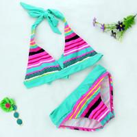 bambini bikini bambino infantile delle neonate nuoto vestiti della spiaggia di estate a righe costume da bagno del sole backless del reggiseno del bikini