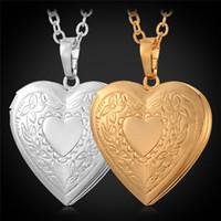 achat en gros de parfaits cadeaux valentine-Collier avec pendentif U7 Photo Coeur Floating Médaillon 18K réel d'or / platine plaqué Femmes Mode Bijoux Parfait cadeau de Valentine For Love