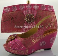 Cheap Fuchsia pink italy shoes with match bag Best lady wedding shoes bag
