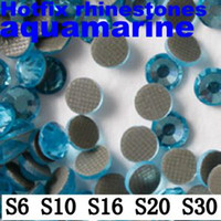 Good aquamarine fashion - New Fashion Aquamarine DMC Hotfix Rhinestones Iron On Strass Round Flatback DIY Rhinestones With Glue Backing Fit Garment ss6 ss30mm