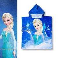 Robes cotton beach towel - Elsa Anna Robes Baby Bathroom Towels Children Towels Robes Fashion Boys Girls Beach Cotton Towels Kids Bath Towels Child Towels Robes C1775