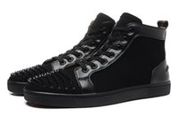 designer shoes - new fashion men women patchwork genuine leather with spiked toe high top sneakers designer crystal red bottom sports causal shoes