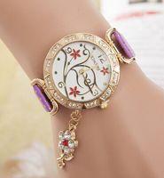 best leather flowers - Luxury Blossom Print Style women leather watch diamond bracelet quartz round Diamond flower pendant ladies watches for Best Gift