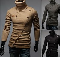 Wholesale 2016 new Men s Long Sleeve Turtleneck Sweaters men fashion sweater pullovers slim fit oblique Placket Buttons