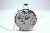 asian flower art - 10pcs Japanese Art Print Neckalce Asian Flowers Art Pendant Glass Photo Cabochon Necklace