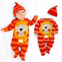Wholesale Stripe Lion Cute Baby Boys Clothes Newborn Rompers Hat Sets Orange Bebe Pajamas Suit Jumpsuit