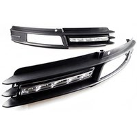 Cheap car auto daytime running light for 2009-2011 Audi A6 C6 A6L front bumper grille grill + DRL fog lamp cover LED white