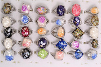 Wholesale jewelry Abalone Fashion Alloy Shell silver plated rings New