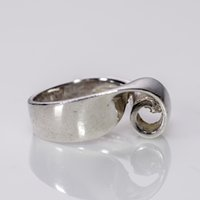 art index - Western Europe reflux American abstract art jewelry flower shape sterling silver ring screwed the whole index
