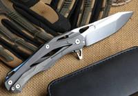 Wholesale Transformers decepticon titanium handle D2 blade ball bearing flipper folding Tactical camping hunting knife pocket EDC tools
