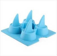 Wholesale Shark Ice Mold - 200pcs CCA2558 Creative High Quality 3D Shark Ice Tray Cool Silicone Shark Shape Ice Cube Freeze Mold Shark Fin Shape Ice Cream Tools