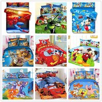 Wholesale Kids twin cartoon Christmas D bedding sets include duvet quilt comforter cover flat sheet pillow case boys bed cover set