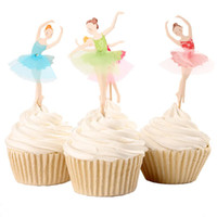Wholesale Cupcake Topper Picks Ballet Girl Party Cupcake Paper Wrapper Theme Cupcake Toppers Pick Kid Birthday Party Decorations