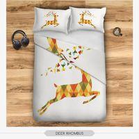 Cheap bda37392 DEER RHOMBUS Pattern 3D Digital Print Bedding Set Home Textiles High Color Fastness