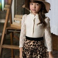 Wholesale 2015 Summer New Girls Fungus Lace Collar Short Sleeve Shirt Leopard Print Skirts Skirt Two piece Suit
