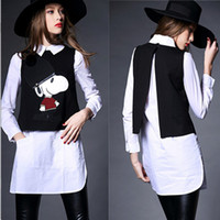 high end clothing - High End Autumn Winter Fashion Clothing Set Women Long Sleeve White Shirt Cartoon Embroidery Fur Black Vest Casual Set S XL