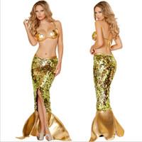 achat en gros de vêtements de latex xl-2015 Fashion New latex vêtements paillettes Flash Color Split robe de soirée sirène costumes d'Halloween Cosplay Costumes taille sexy pour les femmes