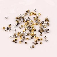 Wholesale 2mm End Caps Tube Crimp Beads Jewelry Findings For Accessories Making DIY Gold Silver Gunblack Bronze Rhodium Y891