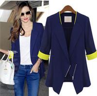 beige jacket store - Celeb Womans OL Lapel zipper Fifth sleeve Slim Suit Jacket Thin Blazers Coat UK Store