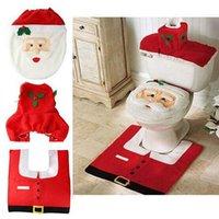 Wholesale Christmas Decorations Happy Santa Toilet Seat Cover And Rug Bathroom Set Xmas