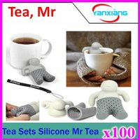 Wholesale 100pcs Teapot cute Tea Infuser Tea Strainer Coffee Tea Sets silicone tea Creative cute man Teapot Strainers ZY PC