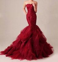 Wholesale Wine Red Mermaid Wedding Dresses Sweetheart Sleeveless Lace Up Ruffled Sweep Train Tiered Tulle Church Bridal Gowns
