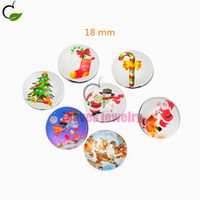 Wholesale 18 mm Christmas suits snap button jewelry High quality glass surface snap buttons fit button bracelet or necklace