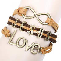 Wholesale High Quality Sideways Charm Heart vintage Leather Bracelet Wristbands