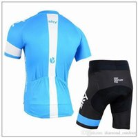 Wholesale factory new items Team Sky Cycling Jersey Set Short Sleeve Blue Cycling Clothes With Cycling Tops Padded Bib None Bib Trousers Bike Suit