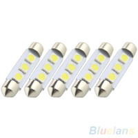 Wholesale 5X Error Free Canbus W SMD LED mm C5w Xenon White Number Plate Light V MYC PKP