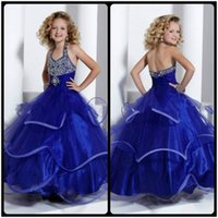 Wholesale 2016 Beautiful Royal Blue Organza Girl s Pageant Dresses Ball Gown Halter Ruffle Layered Flower Girl Dresses Pageant Dress For Juniors