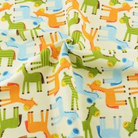 Cheap 50cmx160cm piece cartoon deer printed cotton fabric for DIY baby bedding clothes patchwork sewing tilda tecido scrapbooking