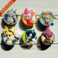 accessory sonic - Min Order Sonic the Hedgehog Series PVC Shoe Charms Buckle Fit for Shoes Bracelets Charm Decoration Shoe Accessories Party Gift