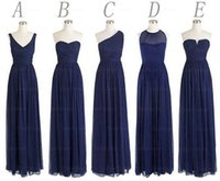 Wholesale Custom Made Styles Long Bridesmaid Dresses A Line Back Zipper Floor Length Navy Blue Chiffon Ruched Cheap Prom Evening Party Dress