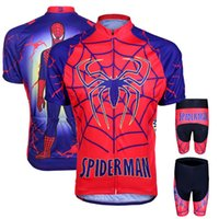 Wholesale 2 design spider men Cycling Jersey Short Sleeve Bicycle Jersey Ropa Ciclismo and Cycling Bib Shorts Kit Summer Cycling Clothing