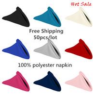 Wholesale 50pcs polyester plain napkin royal blue color cm Square Home Hotel Napkin for wedding napkin