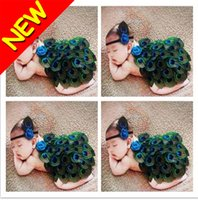 feather butterflies - New Cute Baby Infant TUTU Peacock Shaped Newborn Photography Props Cute Feather Photo Props with Headband Costume Outfit Promotion