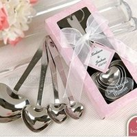 stainless steel measuring spoon - Heart Shaped Measuring Spoons set Wedding Favors LOVE New set gift box retail set bag