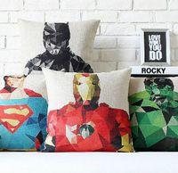 Wholesale Batman Superman Captain America Iron Man Thor Hulk Avengers superhero cotton linen throw pillow cushion cover home decor
