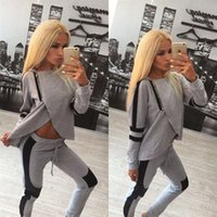 Wholesale 2016 New Women Irregular Slim Long Sleeves Showing Belly Tracksuits Patchwork Gray Sports Top and Leggings