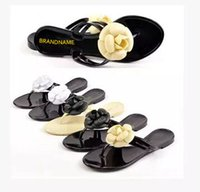 Men animal print red shoes - summer women s floral Brand slippers female s flip flops flowers slippers pvc sandals Camellia Jelly Shoes beach