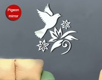 Wholesale 3D Dove and Flowers Mirror Wall Art Decal Sticker Living Room Decoration Wall Art Mural Decor Home Decal Decor