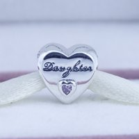 Wholesale Daughter Heart Charms With Pink CZ Autumn Collection Pandora Charms Ale Fine Jewelry Fits DIY Bracelets CE728