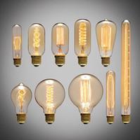 Wholesale 2016 New arrival American vintage pendant lights copper lamp tungsten light bulb industry pendant lamps Golden Chrome E27 W filament bulb