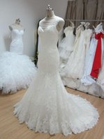 Trumpet/Mermaid Model Pictures V-Neck Elegant Mermaid Wedding Dresses Real Image 2015 Hollow Train Lace Sheer Straps Sleeveless robe de mariée Stunning Ball Bridal Custom Made