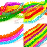 Wholesale Fctory Price Mix Color Dull Polish Fluorescent Round Iridescent Neon Glass Spacer Beads For DIY Necklace Bracelet diy